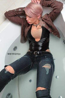 #340 - Wetlook by Pink-Haired Girl in Soaking Wet Bodysuit, Jacket and Jeans in Bath