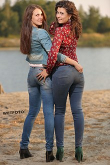 #341 - Two Fully Dressed Girls in Skinny Jeans and High Heels Get Soaking Wet on Lake