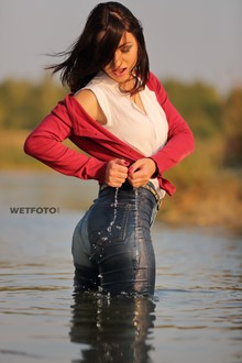 #343 - Wetlook by Girl in Cardigan, Blouse, Tight Jeans and Sneakers