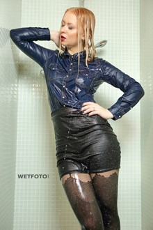 #344 - Hot Woman in Leather Jacket, Mini Skirt, Stockings and High Heels Get Soaking Wet