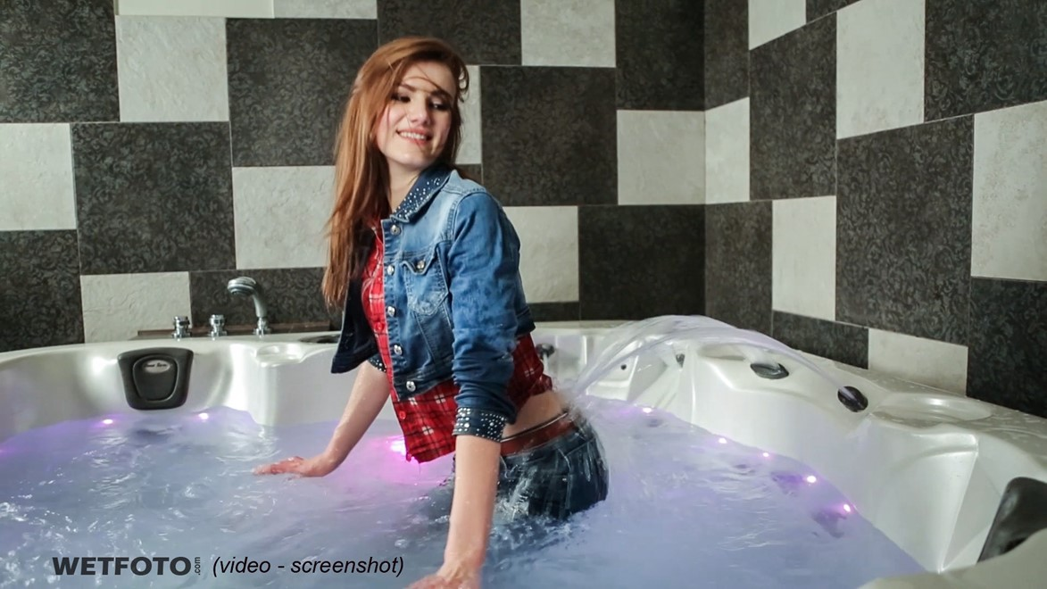 wet girl fully clothed wet get wet soaking wet denim jacket shirt jeans stockings jacuzzi