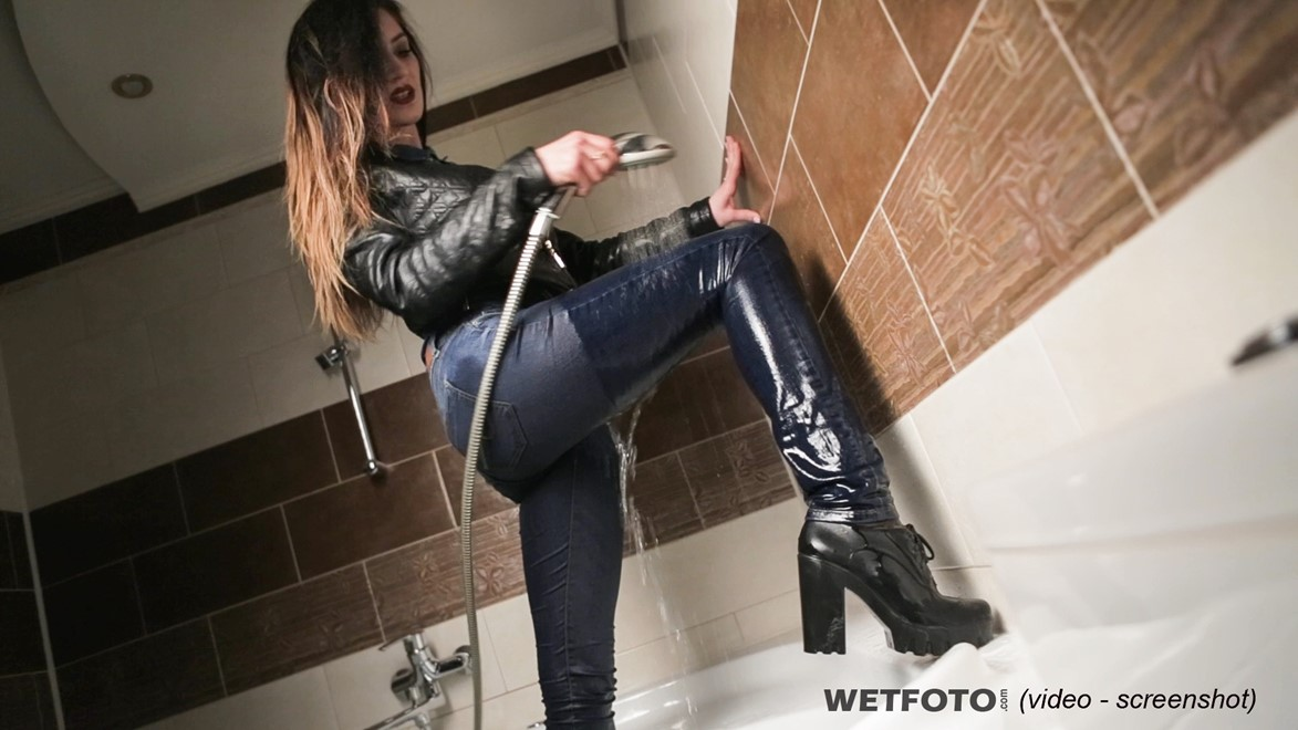 wet girl fully clothed get wet soaking wet denim shirt leather jacket jeans boots jacuzzi