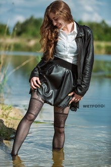 #364 - Fully Clothed Girl in Black Leather Suit, Blouse and Tights Get Wet in River
