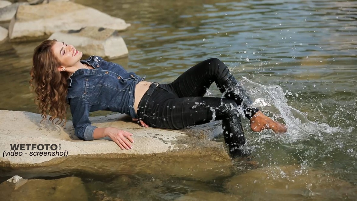 wet girl get wet soaked swimming fully clothed skinny jeans denim jacket socks lake