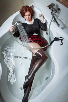 #375 - Smart Girl in Student's Outfit and High Heels Get Fully Wet in Jacuzzi Bath