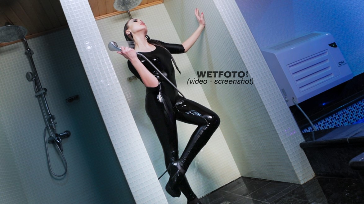 wet girl fully clothed leggings tricot tights boots high heels water wet hair shower