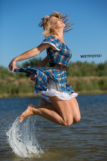 #399 - Pretty Blonde Girl in Beautiful Dress and Shoes Get Fully Wet on Lake