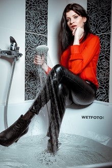 #400 - Wetlook by Hot Brunette Girl in Fully Wet Sexy Leggings and High Heels in Shower