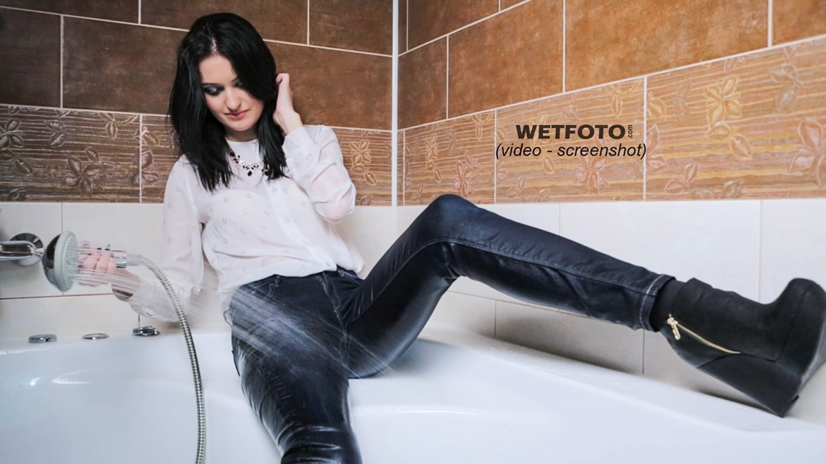wet girl get wet blouse jeans shoes high heels fully clothed wet hair bath shower
