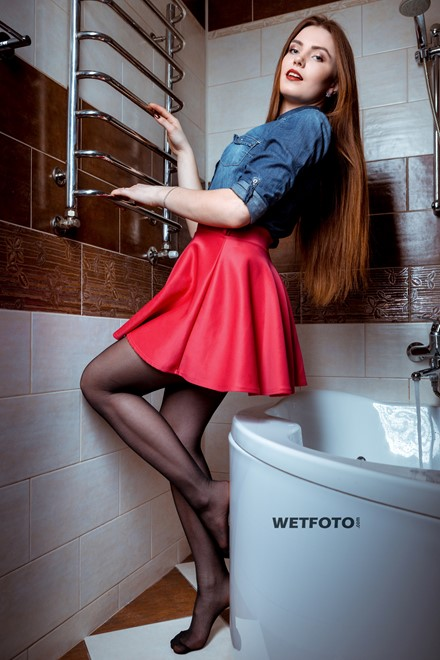 wet girl wet hair get wet denim shirt mini skirt stockings fully soaked water bath shower