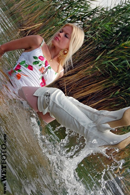 wet girl get wet wet hair fully clothed tight dress stockings leather boots high heels lake