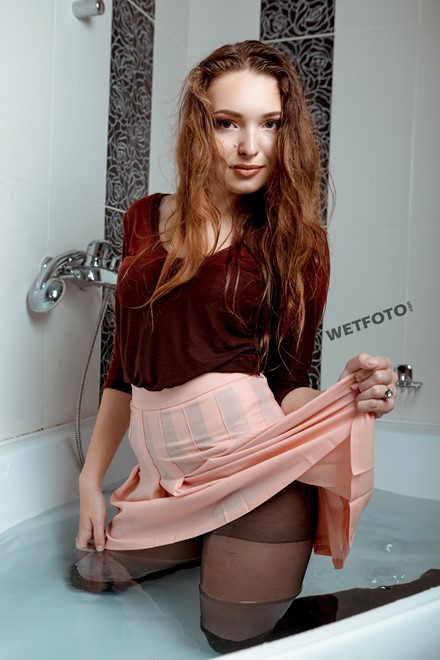 wet girl wet hair get wet blouse skirt tights fully soaked water bath shower