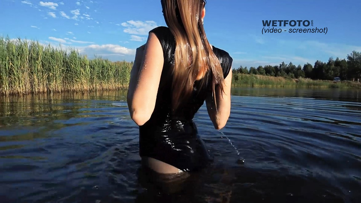 wet girl get wet faux leather jacket bodysuit jeans skirt tights gaiters shoes high heels wet hair lake