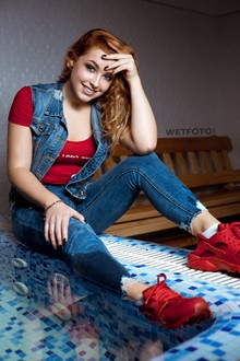 #423 - Beautiful Girl in Soaking Wet Jeans Clothes and Red Sneakers in Pool