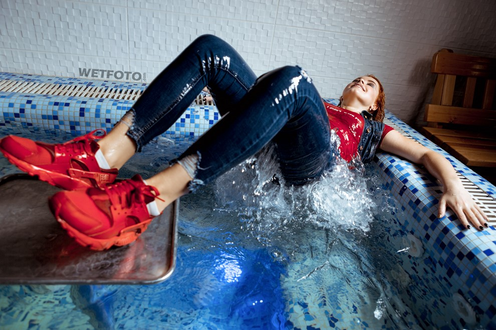 wet girl wet hair get wet  tights jeans bodysuit waistcoat socks sneakers fully clothed water pool