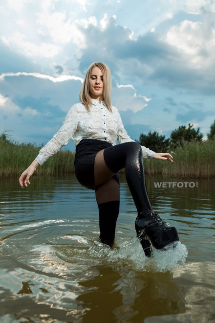 wet girl wet hair get wet  tights skirt blouse shoes high heels fully soaked water bath shower