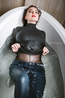 #437 - Wetlook by Seductive Girl in Soaking Wet Skinny Jeans and Pantyhose