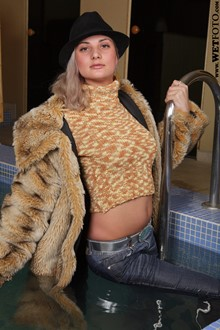 #47 - Winter Wetlook by Girl in Fur Coat, Jeans, Hat and Leather Boots in Jacuzzi