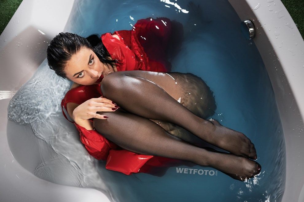 wetfoto girl soaking wet red dress pantyhose