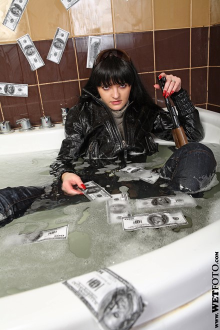 wet girl get wet wet hair fully clothed jacket jeans blouse boots high heels patent leather bath shower