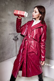 #511 - Girl in Red Leather Coat and Rubber Boots Takes a Milk Bath