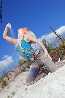 #59 - Fully Clothed Blonde in Jeans, T-Shirt and High Heels Get Soaking Wet on Lake