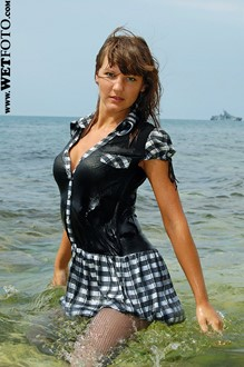 #64 - Wetlook by Cool Girl in Sexy Stockings, Dress and High Heels at Sea