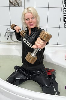 #68 - Wetlook by Active Blonde in Sport Suit and Sneakers in Bath