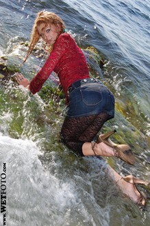 #70 - Wetlook by Hot Girl in Fishnet Leggings, Mini Skirt and Shoes at Sea