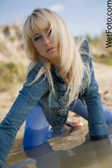 #79 - Beautiful Girl in Denim Jacket, Tight Jeans and Shoes Get Soaking Wet at Lake