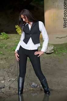 #86 - Wetlook by Brunette in Leggings, Shirt, Vest and Leather Boots by the Lake