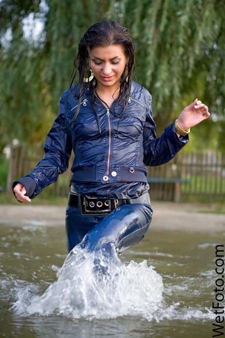 wet girl get wet fully clothed jacket jeans t-shirt high heels shoes lake
