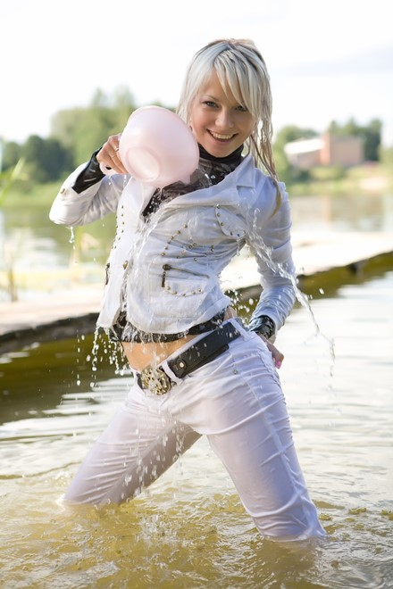 wet girl get wet wet hair swim fully clothed jacket jeans blouse shoes  lake