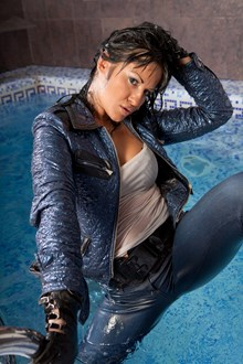 #112 - Wetlook by Brunette Girl in Shiny Jacket, Tight Jeans and Heels in Pool