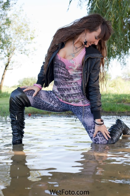 wet girl get wet wet hair swim fully clothed jacket t-shirt leggings boots lake