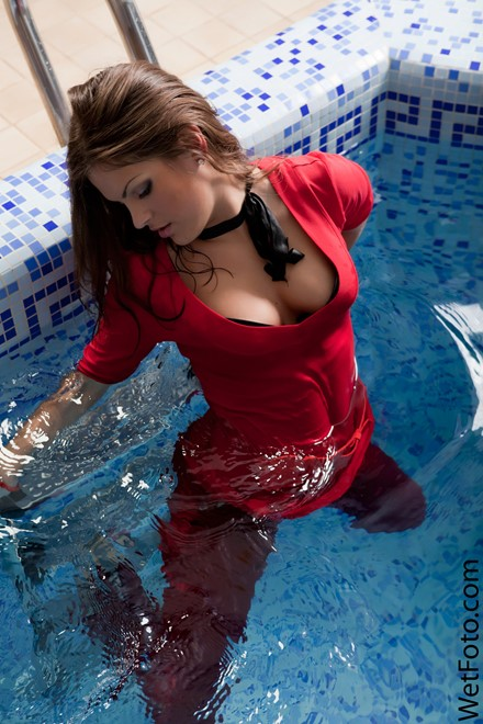 wet girl get wet wet hair fully clothed blouse jeans shoes pool