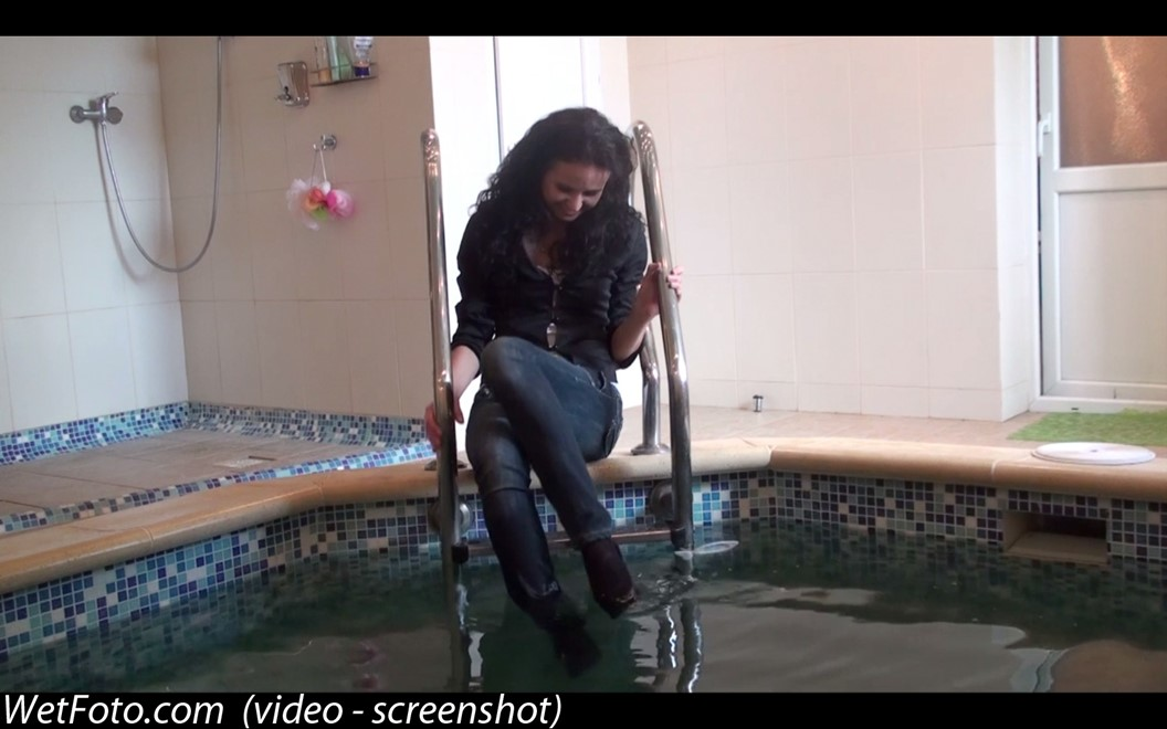 brunette wet girl get wet fully clothed t-shirt jacket jeans high-heeled shoes wet hair pool