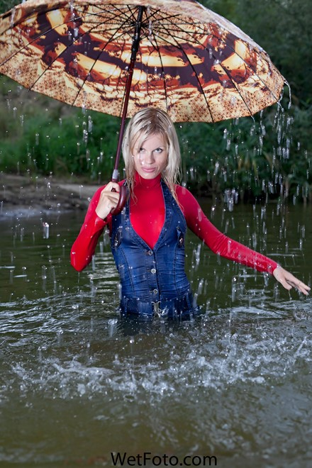 wet girl get wet wet hair swim fully clothed denim jumpsuit sweater socks shoes lake