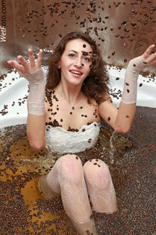 #138 - Coffee Wetlook by Cute Girl in Lace Dress, Evening Gloves and Fishnet Stockings in Bath