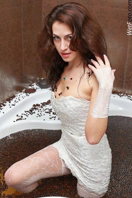wet girl get wet wet hair lace dress evening gloves stockings bath