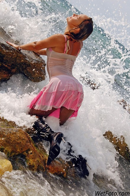 wet girl get wet wet hair swim fully clothed dress stockings leather boots high heels sea