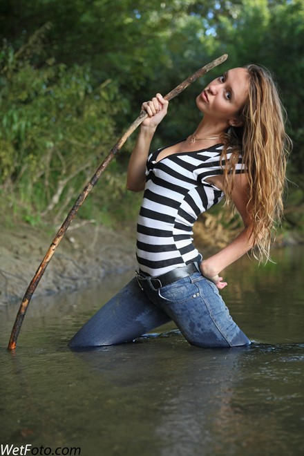 wet girl get wet wet hair swim fully clothed tight jeans t-shirt leather boots lake