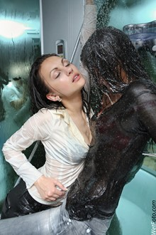 #144 - Wetlook by Two Brunette Girls in Tight Jeans, Blouses and High Heels in Shower