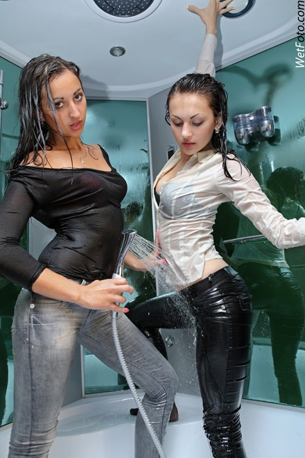 wet girl get wet wet hair fully clothed jeans blouse high heels shower
