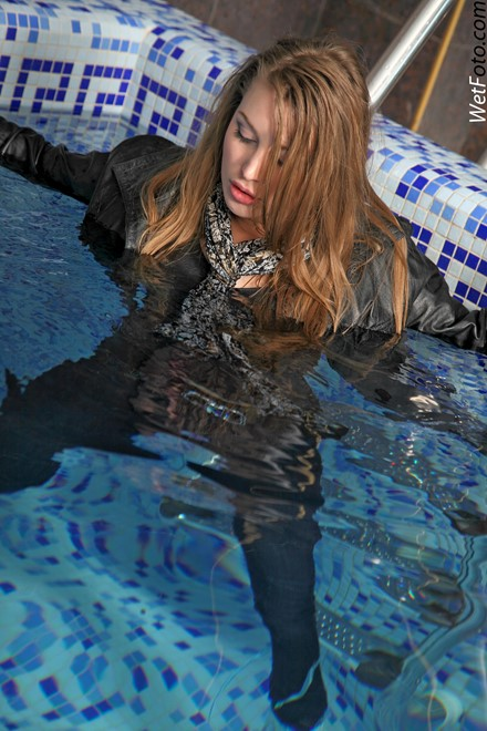 wet girl get wet wet hair swim fully clothed leather jacket jeans scarf t-shirt shoes pool