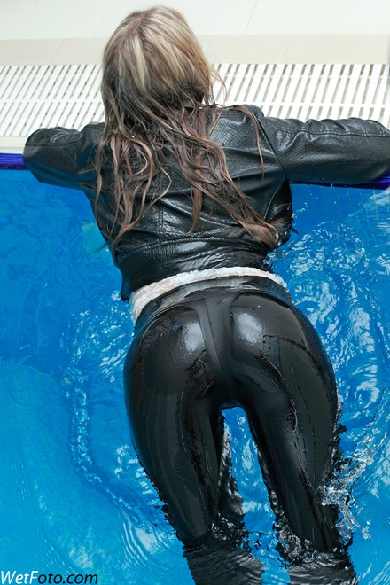 wet girl get wet wet hair swim fully clothed leather jacket guipure blouse leggings shoes pool