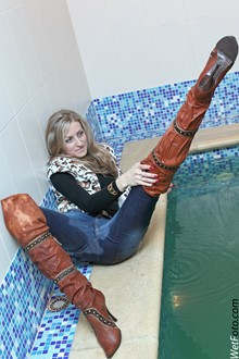 #155 - Wetlook by Wet Girl in Leopard Vest, Tight Jeans and Jackboots in Pool