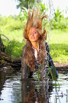 #171 - Sweet Blonde in Leather Jacket, Tight Jeans and High Heels Get Fully Wet on Lake