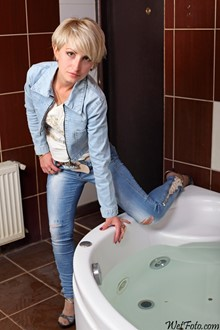 #183 - Wetlook by Cute Girl in Denim Jacket, Tight Jeans and High Heels