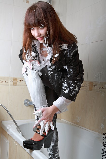 wet girl get wet wet hair fully clothed jacket blouse leggings high heels bath